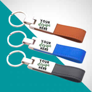 Metal keychain with leather strap cork Strap